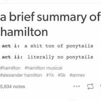 no wonder everything goes to hell -A: a brief summary of  hamilton  act i: a shit ton of ponytails  act ii literally no ponytails  #hamilton #hamilton musical  #alexander hamilton #1k #5k #amrev  5,834 notes no wonder everything goes to hell -A