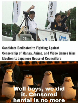A new Hope: A  Candidate Dedicated to Fighting Against  Censorship of Manga, Anime, and Video Games Wins  Election to Japanese House of Councillors  Well boys, we did  it. Censored  hentai is no more  |由を守み A new Hope