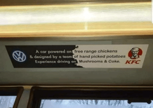 A car powered on free range chicken.: A car powered on free range chicken.