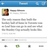 Burnnnnn-Kyle: a CAT  Tweet  Happy Gilmore  Happy Gilmore  The only reason they built the  hockey hall of fame in Toronto was  so Leaf fans can go in and see what  the Stanley Cup actually looks like.  7/19/13, 9:00 PM  396  RETWEETS 214  FAVORITES Burnnnnn-Kyle