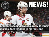 Erik Karlsson's status is questionable for opening night. Karlsson Senators Ottawa NHLDiscussion: A CCM  NEWS!  NHL  DISCUSSION  Erik Karlsson underwent surgery to repair  multiple torn tendons in his foot, and  will miss four months Erik Karlsson's status is questionable for opening night. Karlsson Senators Ottawa NHLDiscussion