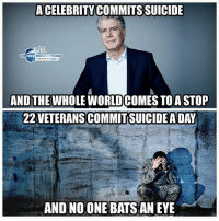 Memes, Free, and Suicide: A CELEBRITY COMMITS SUICIDE  THE  FREE  THOUGHT PROJECT  AND THEWHOLE WORLD COMES TOA STOP  22 VETERANSCOMMIT SUICIDE A DAY  AND NO ONE BATS AN EYE