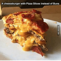 Looks like a heart attack. Follow @9gag @9gagmobile 9gag: A cheeseburger with Pizza Slices instead of Buns Looks like a heart attack. Follow @9gag @9gagmobile 9gag
