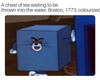 Boston Tea Party, 1773.: A chest of tea waiting to be  thrown into the water, Boston, 1773, colourized Boston Tea Party, 1773.