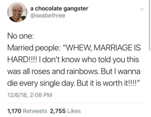 "Take my life, please 🙄🙄🙄 by ihaveallthelions MORE MEMES: a chocolate gangster  @seabethree  No one:  Married people: ""WHEW, MARRIAGE IS  HARD!!! I don't know who told you this  was all roses and rainbows. Butl wanna  die every single day. But it is worth it!!""  12/6/18, 2:08 PM  1,170 Retweets 2,755 Like:s Take my life, please 🙄🙄🙄 by ihaveallthelions MORE MEMES"