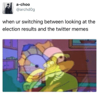 Memes, Twitter, and Looking: a-choo  @archd0g  when ur switching between looking at the  election results and the twitter memes