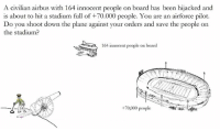 Alive, Meme, and Memes: A civilian airbus with 164 innocent people on board has been hijacked and  is about to hit a stadium full of +70.000 people. You are an airforce pilot.  Do you shoot down the plane against your orders and save the people on  the stadium  164 innocent people on board  +70,000 people So yesterday the three major TV channels of Germany, Austria and Switzerland aired a fictional trial about a german airforce pilot who shot down the plane against his orders ... After the trial viewers voted online whether he was guilty for murder or not. All three countries voted for not guilty (almost 90%).  There should be more shows like these, well done. Basically the traditional media is taking part in the trolley problem meme, what a time to be alive.