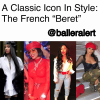 "Fall, Fashion, and Head: A Classic lcon In Style:  The French ""Beret""  @balleralert A Classic Icon In Style: The French ""Beret"" - blogged by @lanaladonna (swipe) ⠀⠀⠀⠀⠀⠀⠀ ⠀⠀⠀⠀⠀⠀⠀ The ""beret"" which made its debut as early as 1835, is a prime example of history repeating itself. The popular accessory is a soft, round cap with a flat crown, typically made of knitted wool. ⠀⠀⠀⠀⠀⠀⠀ ⠀⠀⠀⠀⠀⠀⠀ Its versatility and sleek style has caused for the entire world to enjoy this timeless piece. ⠀⠀⠀⠀⠀⠀⠀ ⠀⠀⠀⠀⠀⠀⠀ Back in October of 2017, InStyle predicted the piece would be the ""chicest fall accessory"" of the 2017-2018 Fall and Winter seasons, after being flaunted on the runway of Paris Fashion Week. It's safe to say, their predictions were head-on. ⠀⠀⠀⠀⠀⠀⠀ ⠀⠀⠀⠀⠀⠀⠀ Your favorite celebrities have been spotted wearing the stylish headpiece, from KeyshiaKaoir to CardiB. ⠀⠀⠀⠀⠀⠀⠀ ⠀⠀⠀⠀⠀⠀⠀ Some may choose to play it safe with the classic, black beret, adding ""classic Hollywood"" to their look in an instant, while others may go for a more modern, sassier look with the red one. ⠀⠀⠀⠀⠀⠀⠀ ⠀⠀⠀⠀⠀⠀⠀ Now, if you are looking to dab into your inner ""Clueless"" moment, the dainty beret is the perfect go-to accessory while it's still cold outside. ⠀⠀⠀⠀⠀⠀⠀ ⠀⠀⠀⠀⠀⠀⠀ How do you style your beret?"