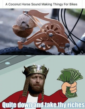 Tis but a scratch.. via /r/memes https://ift.tt/2vB7DU9: A Coconut Horse Sound Making Thingy For Bikes  Quite downand take thy riches Tis but a scratch.. via /r/memes https://ift.tt/2vB7DU9