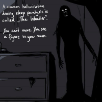 Memes, Common, and 🤖: A common hallucination  durin  sleep paralysis  is  called The Intnuder  Du, cant move. ou see,  a haure in your room.