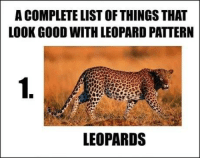 Memes, Good, and 🤖: A COMPLETE LIST OF THINGS THAT  LOOK GOOD WITH LEOPARD PATTERN  1.  LEOPARDS