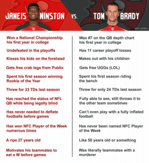 A comprehensive breakdown of why Jameis Winston is better than Tom Brady: https://t.co/AYMjAfof2H: A comprehensive breakdown of why Jameis Winston is better than Tom Brady: https://t.co/AYMjAfof2H