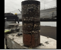 History, Indianapolis, and Speedway: A core sample from the track at Indianapolis speedway showing 108 years of paving history starting with brick