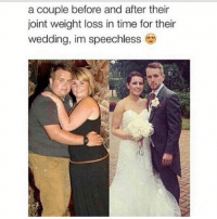 Gym, Time, and Wedding: a couple before and after their  joint weight loss in time for their  wedding, im speechless Swolemates 💕💪 . @officialdoyoueven 👈