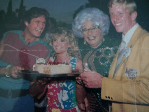 A cousin's birthday before rowing in 1984 LA Olympics. He's with some pretty special people.: A cousin's birthday before rowing in 1984 LA Olympics. He's with some pretty special people.