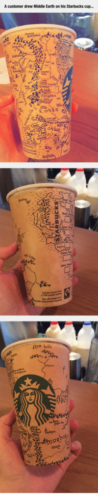 Anaconda, Starbucks, and Earth: A customer drew Middle Earth on his Starbucks cup...  ous alet  Custom/Pes  Drink / Boiss  0  Starbucks Espresso Roas  is 100% Fairtrade Cette  thé 100%commerce  ale Espresso Rast  Ron hills <p>Drawing On Starbuck's Cups.</p>