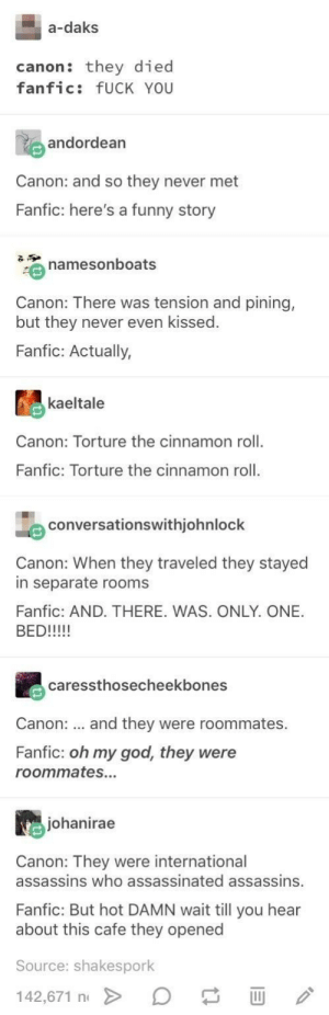 Fuck You, Funny, and God: a-daks  canon: they died  fanfic: fUCK YOU  andordean  Canon: and so they never met  Fanfic: here's a funny story  namesonboats  Canon: There was tension and pining,  but they never even kissed  Fanfic: Actually,  kaeltale  Canon: Torture the cinnamon roll  Fanfic: Torture the cinnamon roll  conversationswithjohnlock  Canon: When they traveled they stayed  in separate rooms  Fanfic: AND. THERE. WAS. ONLY. ONE.  caressthosecheekbones  Canon:  and they were roommates.  Fanfic: oh my god, they were  roommates..  johanirae  Canon: They were international  assassins who assassinated assassins.  Fanfic: But hot DAMN wait till you hear  about this cafe they opened  Source: shakespork  142,671 n canon vs fanfic