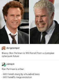 mega evolution: A dangstomper  theory: Ron Perlman is Will Ferrell from a dystopian  cyberpunk future  ziinogre  Ron Perlman is either  Will Ferrell stung by a hundred bees  Will Ferrell's mega evolution