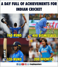 #IndVsSA #IndianCricket: A DAY FULL OF ACHIEVEMENTS FOR  INDIAN CRICKET  160 RUNS 400 DISMIS  SALS  AUGHING  135 RUNS  200 WICKETS  2  回參/laughingcolours #IndVsSA #IndianCricket
