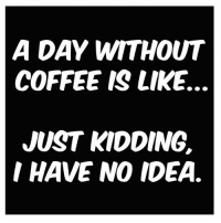 I don't know and I don't ever want to know. Follow @mommyneedsacoffee for more hilarious memes ! @mommyneedsacoffee @mommyneedsacoffee ⬅️⬅️⬅️ coffee tacotuesday coffeeaddict yesplease: A DAY WITHOUT  COFFEE IS LIKE.  JUST KIDDING.  I HAVE NO IDEA. I don't know and I don't ever want to know. Follow @mommyneedsacoffee for more hilarious memes ! @mommyneedsacoffee @mommyneedsacoffee ⬅️⬅️⬅️ coffee tacotuesday coffeeaddict yesplease
