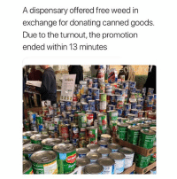 Weed smokers care💚: A dispensary offered free weed in  exchange for donating canned goods.  Due to the turnout, the promotion  ended within 13 minutes Weed smokers care💚