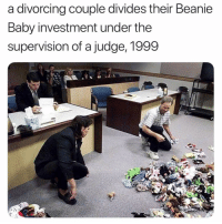 Never forget. Happy Friday.: a divorcing couple divides their Beanie  Baby investment under the  supervision of a judge, 1999 Never forget. Happy Friday.