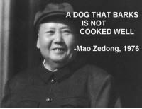 """Dank, Meme, and Mao: A DOG THAT BARKS  IS NOT  COOKED WELL  Mao Zedong, 1976 <p>Needs a couple of minutes more on the grill via /r/dank_meme <a href=""""https://ift.tt/2H6Kay6"""">https://ift.tt/2H6Kay6</a></p>"""