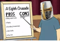 A Eighth Crusade  PROS CONS  Nothing  Kiling musim hordes Seging  Retaking Constantinople  Sick Outfits  Deus Vult me irl