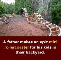Indonesian (Language), Epic, and Mini: A father makes an epic mini  rollercoaster for his kids in  their backyard. Goof daddy :)-