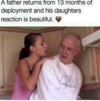 Reaction Memes: A father returns from 13 months of  deployment and his daughters  reaction is beautiful.