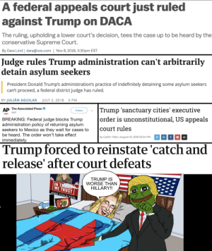 Supreme, Supreme Court, and Mexico: A federal appeals court just ruled  against Trump on DACA  The ruling, upholding a lower court's decision, tees the case up to be heard by the  conservative Supreme Court.  By Dara Lind | dara@vox.com | Nov 8, 2018, 3:30pm EST  Judge rules Trump administration can't arbitrarily  detain asvlum seekers  President Donald Trump's administration's practice of indefinitely detaining some asylum seekers  can't proceed, a federal district judge has ruled.  BY JULIÁN AGUILAR JULY 2, 2018 6 PM  AP he Associated Press  Trump 'sanctuary cities' executive  Follow  order is unconstitutional, US  court rules  by Caitlin Yilek | August 01, 2018 03:34 PM  appeal:s  BREAKING: Federal judge blocks Trump  administration policy of returning asylum  seekers to Mexico as they wait for cases to  be heard. The order won't take effect  immediatel  Trump forced to reinstate 'catch and  release' after court defeats  IN  WE TRUST  TRUMP IS  WORSE THAN  HILLARY!!  ANN COULTER Why is TDS so virulent when it afflicts folks on the right