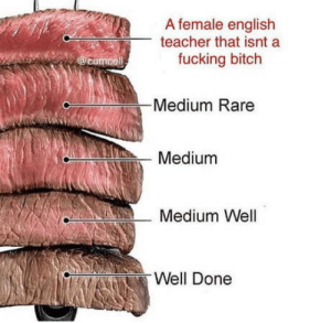 Bitch, Fucking, and Teacher: A female english  teacher that isnt a  fucking bitch  Medium Rare  Medium  Medium Well  Well Done Who tf likes well done meat