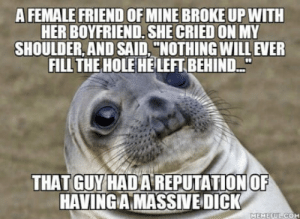"""Dick, Boyfriend, and Her: A FEMALE FRIEND OF MINE BROKE UP WITH  HER BOYFRIEND, SHE CRIED ON MY  SHOULDER, AND SAID, """"NOTHING WILL EVER  FILL THE HOLE HELEFT BEHIND..""""  THAT GUY HADA REPUTATION OF  HAVINGAMASSİVE-DICK  MEMEFU Im not saying thats what she meant But its interesting choice of words, all things considered"""