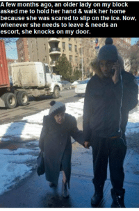Memes, 🤖, and Escort: A few months ago, an older lady on my block  asked me to hold her hand & Walk her home  because she was scared to slip on the ice. Now,  whenever she needs to leave & needs an  escort, she knocks on my door. A new friendship 😀