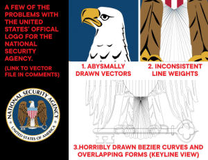The official NSA logo is a hot mess too. Here are a few reasons why, or download the vector version from the link in the comments.: A FEW OF THE  PROBLEMS WITH  THE UNITED  STATES OFFICAL  LOGO FOR THE  NATIONAL  SECURITY  AGENCY.  1.ABYSMALLY  2. INCONSISTENT  (LINK TO VECTOR  FILE IN COMMENTS)  DRAWN VECTORS  LINE WEIGHTS  ONAL SLORITY AGEN  UNITED STATES OF AMERICA  3.HORRIBLY DRAWN BEZIER CURVES AND  OVERLAPPING FORMS (KEYLINE VIEW) The official NSA logo is a hot mess too. Here are a few reasons why, or download the vector version from the link in the comments.