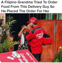 Food, Grandma, and News: A Filipino Grandma Tried To Order  Food From This Delivery Guy So  He Placed The Order For Her  @world  87000 for more news from around the world, follow 👉@world 🌎🌍🌏