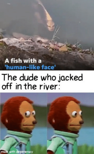 Shame…: A fish with a  'human-like face'  The dude who jacked  off in the river:  made with degeneracy Shame…