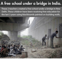 Respect😤: A free school under a bridge in India.  These 2 teachers created a free school under a bridge in New  Delhi. These children have been receiving free education for  the last 3 years using blackboards painted on building walls. Respect😤