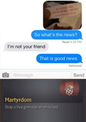 What a madlad.: A FRIEND HAS  GOOD NEWSOR YOU  NDA NDA  So what's the news?  Read 9:39 PM  I'm not your friend  That is good news  Delivered  iMessage  Send  Martyrdom  Drop a live grenade when killed What a madlad.