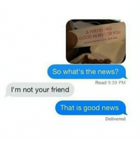 Memes, Panda, and Panda Express: A FRIEND HAS  YOU  OR GOOD PANDA EXPRESS. FyNDA  So what's the news?  Read 9:39 PM  I'm not your friend  That is good news  Delivered well the fortune wasnt wrong- luke