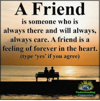 """Friends, Life, and Memes: A Friend  is someone who is  always there and will always,  always care. A friend is a  feeling of forever in the heart.  (type 'yes' if you agree)  Understanding  Compassion Understanding Compassion <3  """"Many people will walk in and out of your life, but only true friends will leave footprints in your heart."""" ~Eleanor Roosevelt <3"""