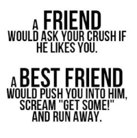 "Crush, Run, and Scream: A FRIEND  WOULD ASK YOUR CRUSH IF  HE LIKES YOU  ABEST FRIEND  WOULD PUSH YOU INTO HIM.  SCREAM ""GET SOME!""  AND RUN AWAY http://iglovequotes.net"