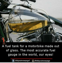 Memes, World, and 🤖: A fuel tank for a motorbike made out  of glass. The most accurate fuel  gauge in the world, our eyes!  /didyouknowpagel  @didyouknowpage
