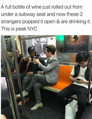 Brotherhood: A full bottle of wine just rolled out from  under a subway seat and now these 2  strangers popped it open & are drinking it.  This is peak NYC  ANASTASIA  r P e Matc Brotherhood