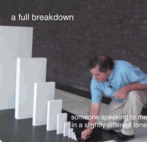 Memes, 🤖, and Breakdown: a full breakdown  someone speaking to me  in a slightly different tone