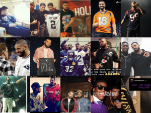 A full list of NFL teams Drake has supported (From left to right: Raiders, Browns, Saints, Broncos, Texans, Rams, Falcons, Seahawks, Rams, Patriots, Chiefs, Saints again, Steelers, Titans, 49ers, Giants, Panthers, and the Ravens.) Be careful! Your team could be next!: A full list of NFL teams Drake has supported (From left to right: Raiders, Browns, Saints, Broncos, Texans, Rams, Falcons, Seahawks, Rams, Patriots, Chiefs, Saints again, Steelers, Titans, 49ers, Giants, Panthers, and the Ravens.) Be careful! Your team could be next!