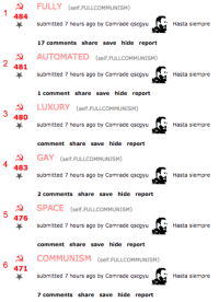 We did it comrades!: A FULLY (self FULLCOMMUNISM)  484  submitted  7 hours ago by Comrade qscgyu  17 comments  share save hide report  AUTOMATED (self. FULLCOMMUNISM  481  submitted  7 hours ago by Comrade qscgyu  1 comment share  save hide report  LUXURY (self FULLCOMMUNISM)  480  submitted  7 hours ago by Comrade qscgyu  comment share save hide report  GAY (self FULLcoMMUNISM)  483  submitted  7 hours ago by Comrade qscgyu  2 comments  share save hide report  SPACE  (self. FULLCOMMUNISM)  5 476  submitted  7 hours ago by Comrade qscgyu  comment share save hide report  A COMMUNISM  (self FULLCoMMUNISM)  6 471  submitted  7 hours ago by Comrade qscgyu  7 comments share save hide report  Hasta siempre  Hasta siempre  Hasta siempre  Hasta siempre  Hasta siempre  Hasta siempre We did it comrades!