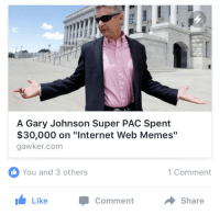 """me_irl: A Gary Johnson Super PAC Spent  $30,000 on """"Internet Web Memes""""  gawker.com  You and 3 others  1 Comment  Like  Comment  Share me_irl"""