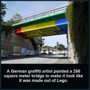 Graffiti, Lego, and Memes: A German graffiti artist painted a 250  square meter bridge to make it look like  it was made out of Lego. Brilliant! 🧱 😃