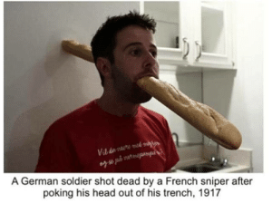 Head, French, and German: A German soldier shot dead by a French sniper after  poking his head out of his trench, 1917 German soldier during the Third Battle of Ypres (1917)